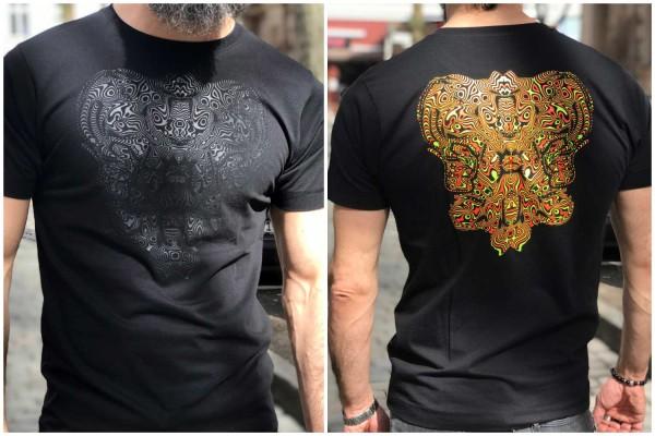 T-Shirt Freqtarie schwarz ● orange / gelb uv aktiv