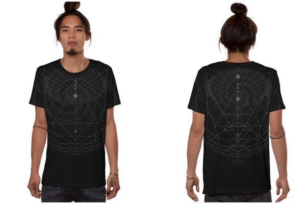 T-Shirt SPIRAL C BLACK Plazmalab Streewear Psywear uv aktiv