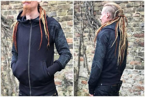 Hoodie ELEMENTAL BLACK Plazmalab Streewear Psywear Urban Sports Sweater Sweat Jacket silk screen print eyes fingerprint lines circles Kapuzenpullover Pullover Siebdruck Augen Fingerabdrücke Linien