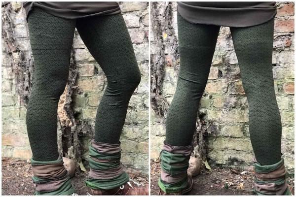 Leggings Elvea green von Yamuna Art für Frauen Gedruckte Tribal Leggings geometrische,Yoga Leggings, alternative Kleidung, Goa Psy Trance Leggings, Festival Kleidung, Zigeuner Hippie Tribal Kleidung