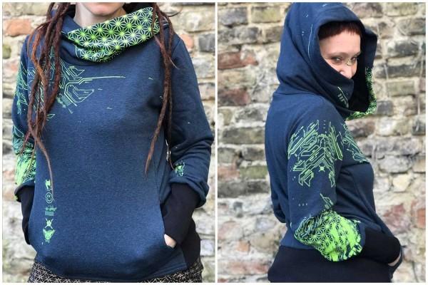 Hoodie CYBERFOX DARK BLUE Plazmalab Streewear Psywear Kapuzenpullover Pullover Women