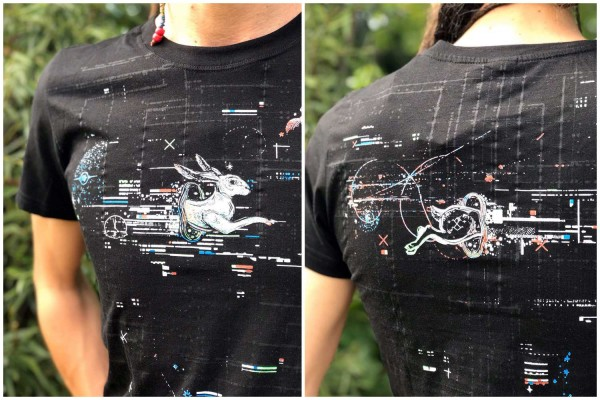 T-Shirt TRANSFER BLACK Plazmalab Streewear Psywear uv aktiv