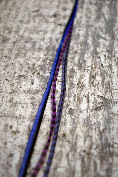 Feder Extension lila/blau gestreift