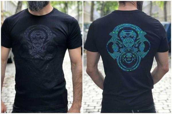 T-Shirt Fraktalix schwarz ● blau / grün uv aktiv