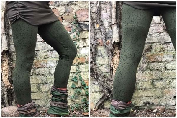 Leggings Ylva gruen von Yamuna Art für Frauen Gedruckte geometrische,Yoga Leggings, alternative Kleidung, Goa Psy Trance Leggings, Festival Kleidung, Zigeuner Hippie Tribal Kleidung