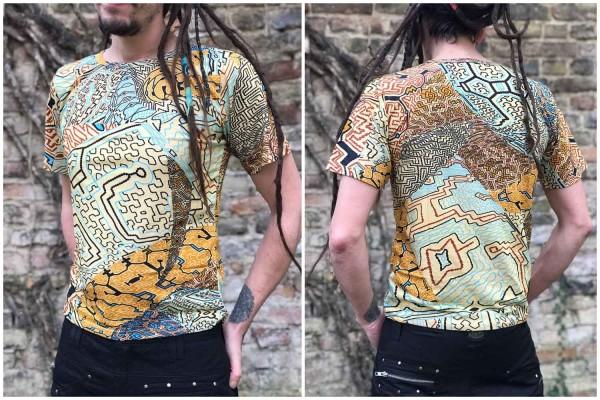 T-Shirt Ajahuasca beige, psywear, geometrische Print, Tribal Kleidung, Hippie Kleidung, Festival Kleidung, Psy wear, Psychedelic Kleidung, Psy Kleidung, UV Aktiv