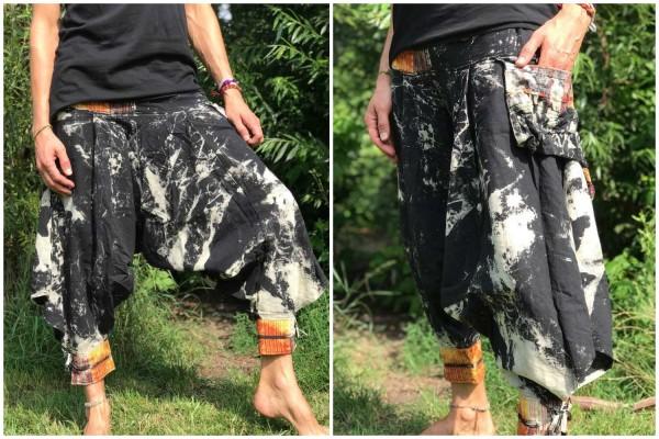 Haremshose Thai Batik grau schwarz