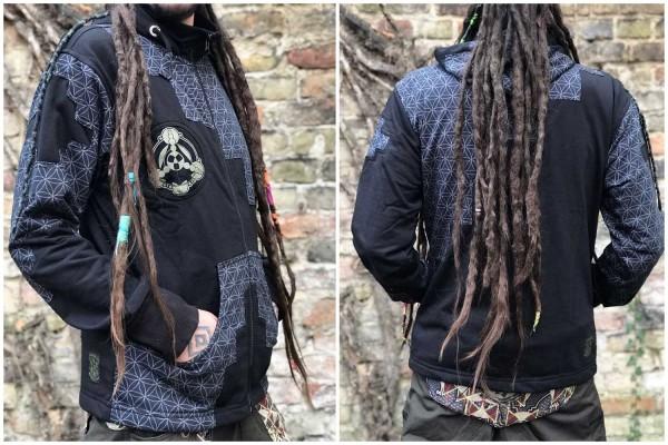 Hoodie Pathfinder SOL schwarz Flower of life by pleiadian, Tribal Kleidung, Herren Hippie Kleidung, Festival Kleidung, Psy wear, Psychedelic Kleidung, Psy Kleidung