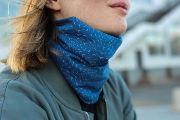 Dust Mask or Neck Warmer - Molekula Mono Steel Blue Symbolika